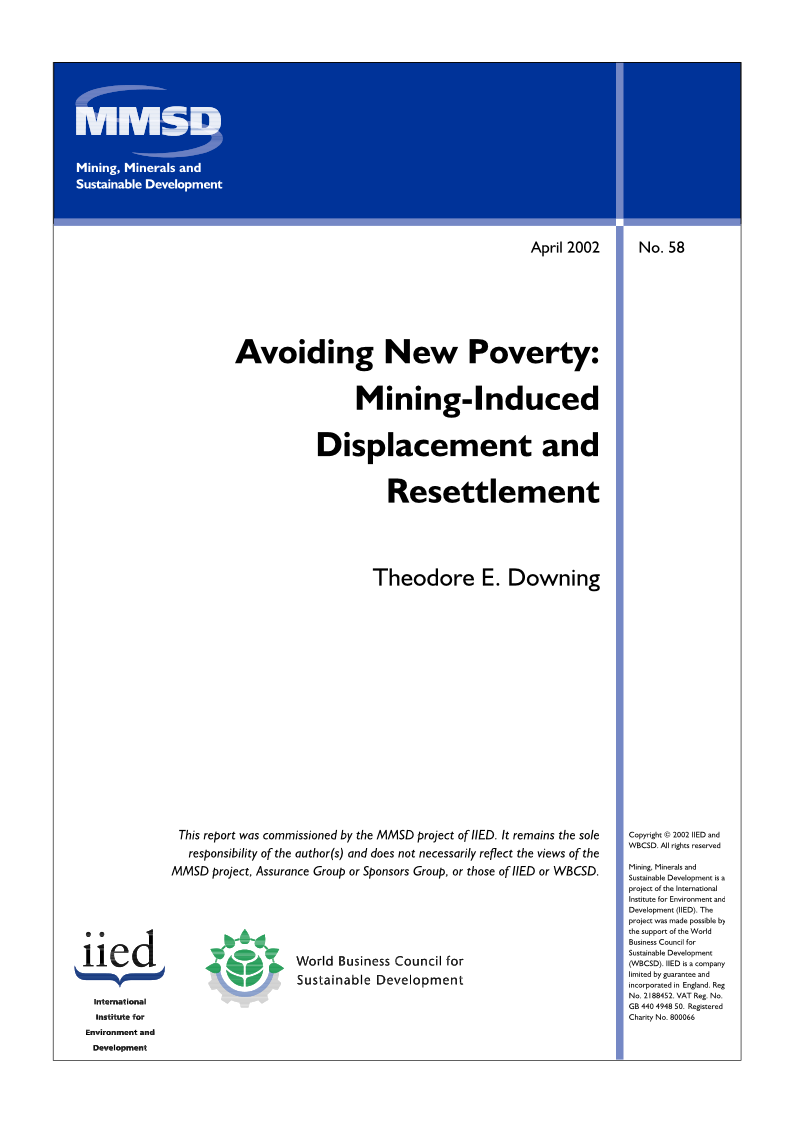 Avoiding New Poverty   Mining Induced Displacement and Resettlement  Theodore E. Downing   2002