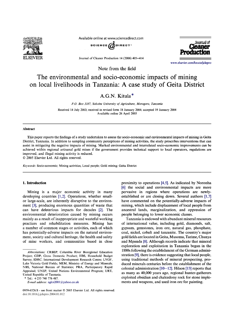 Environmental and socio economic impacts of mining on local livelihoods in Tanzania A case study of Geita District 2004 AGN Kitula