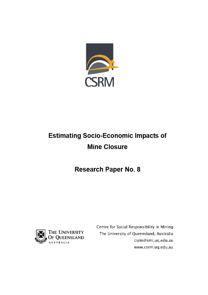 Estimating Socio Economic Impacts of mine closure CSRM 2007