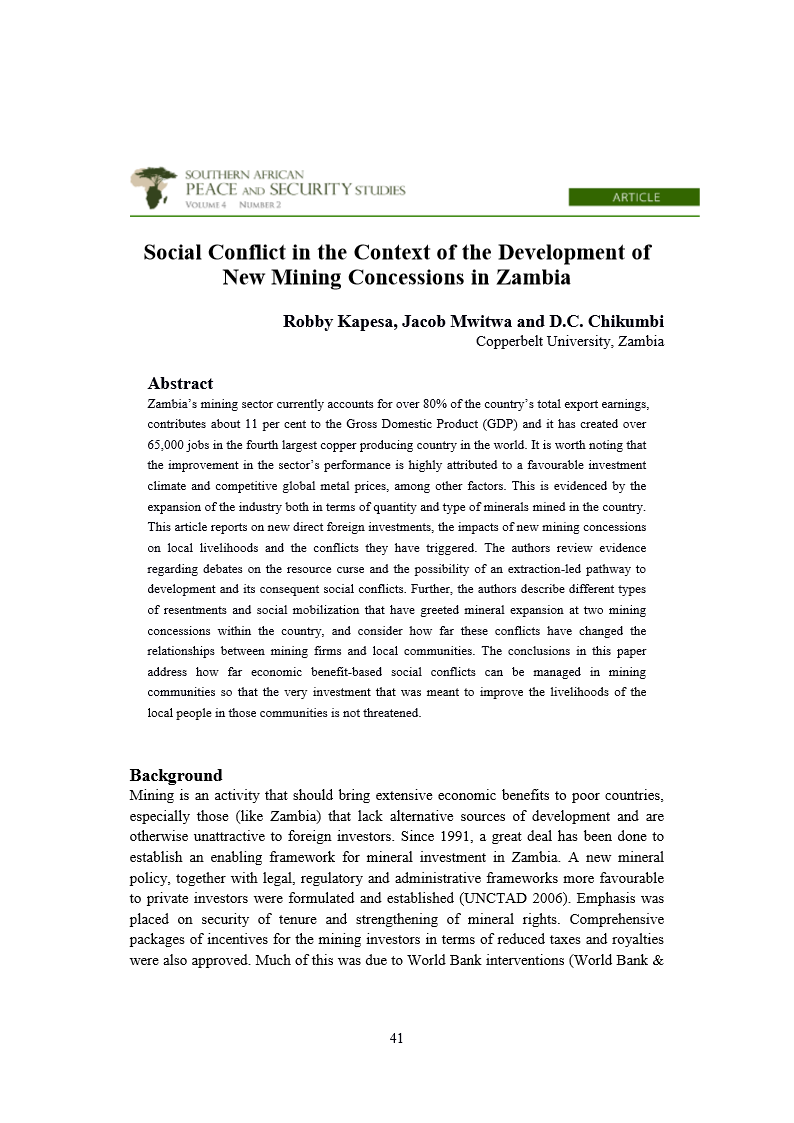 Robby Kapesa, Jacob Mwitwa and D.C. Chikumbi  social cconflict in the context of development of new  mining in Zambia 2014