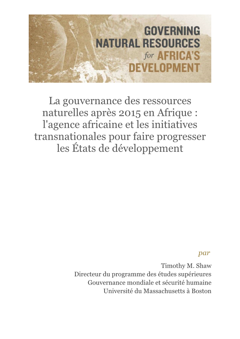 Brief Shaw Post 2015 Natural Resource Governance in Africa FRENCH